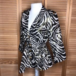 Gold Zebra Stripe Trench Coat Jacket S